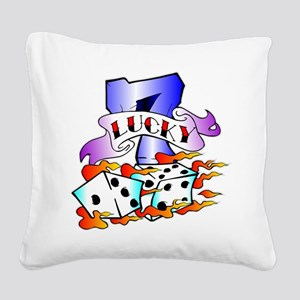 wht_Lucky_7_Dice Square Canvas Pillow