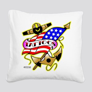 Wht_Anchor_Flag_Tattoos_1001 Square Canvas Pil