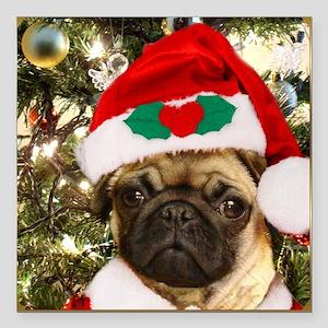"""Christmas Pug Dog Square Car Magnet 3"""" x 3"""""""
