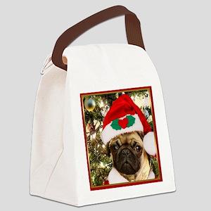 Christmas Pug Dog Canvas Lunch Bag