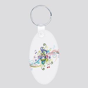 Music in the air Aluminum Oval Keychain