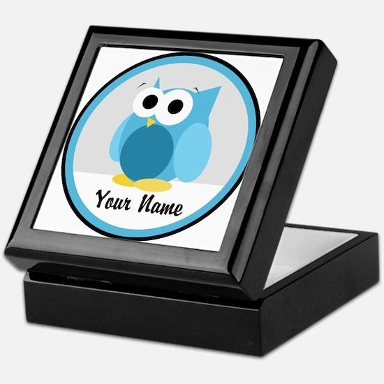 Funny Cute Blue Owl Keepsake Box