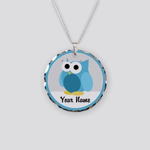 Funny Cute Blue Owl Necklace Circle Charm