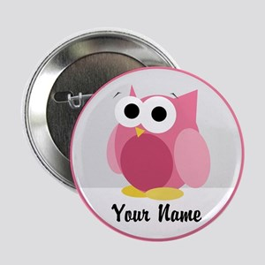 "Funny Cute Pink Owl 2.25"" Button"