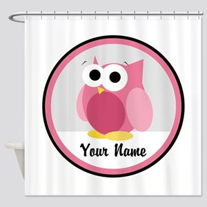 Funny Cute Pink Owl Shower Curtain