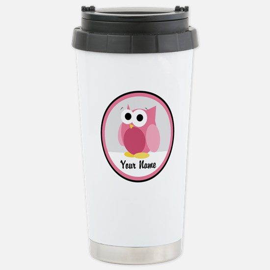 Funny Cute Pink Owl Stainless Steel Travel Mug