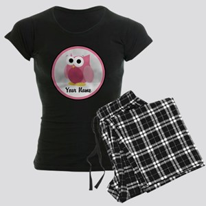 Funny Cute Pink Owl Women's Dark Pajamas