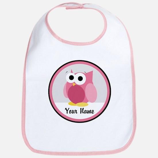 Funny Cute Pink Owl Bib