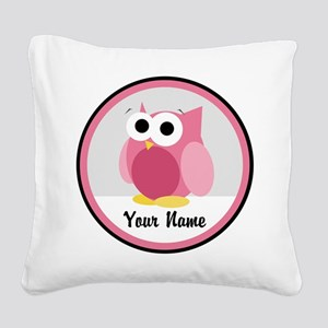 Funny Cute Pink Owl Square Canvas Pillow