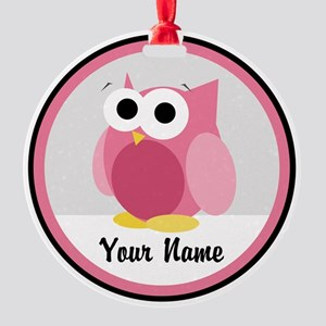 Funny Cute Pink Owl Round Ornament