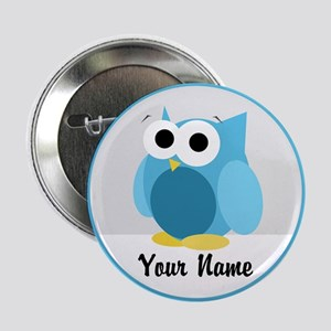 "Funny Cute Blue Owl 2.25"" Button"