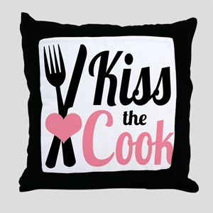 Sassy Pink and Black Kiss the Cook Throw Pillow