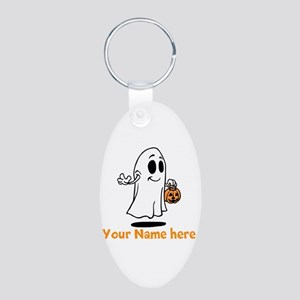 Personalized Halloween Aluminum Oval Keychain