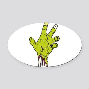 Zombie Hand Oval Car Magnet
