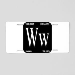 White Widow Black Aluminum License Plate