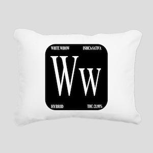 White Widow Black Rectangular Canvas Pillow