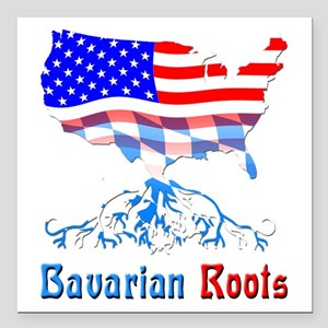 American Bavarian Roots Square Car Magnet 3""