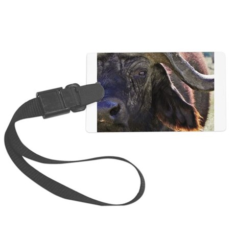 buffalo closeup kenya collection Large Luggage Tag