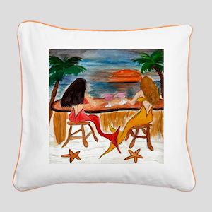 Martini Mermaids art Square Canvas Pillow