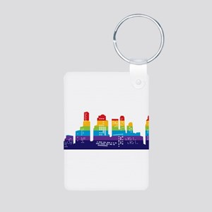 Rainbow City Aluminum Photo Keychain