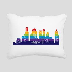 Rainbow City Rectangular Canvas Pillow