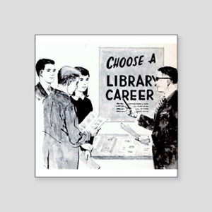 "Retro Librarian Square Sticker 3"" x 3"""