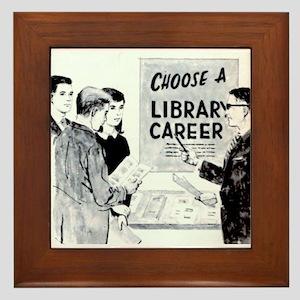 Retro Librarian Framed Tile