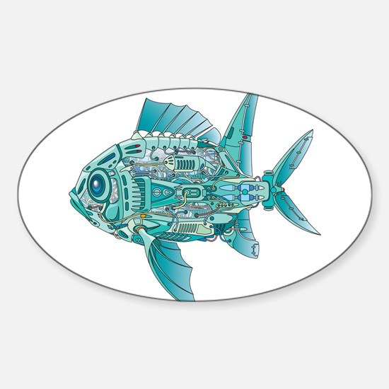 Robot Fish Sticker (Oval)