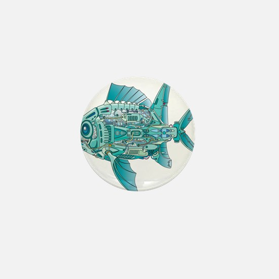 Robot Fish Mini Button