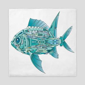 Robot Fish Queen Duvet