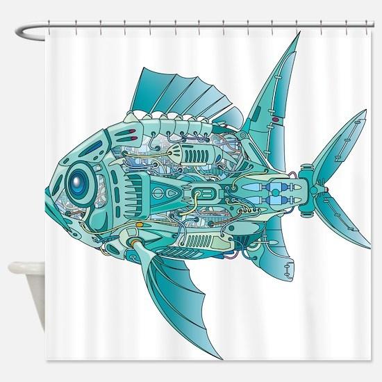 Robot Fish Shower Curtain
