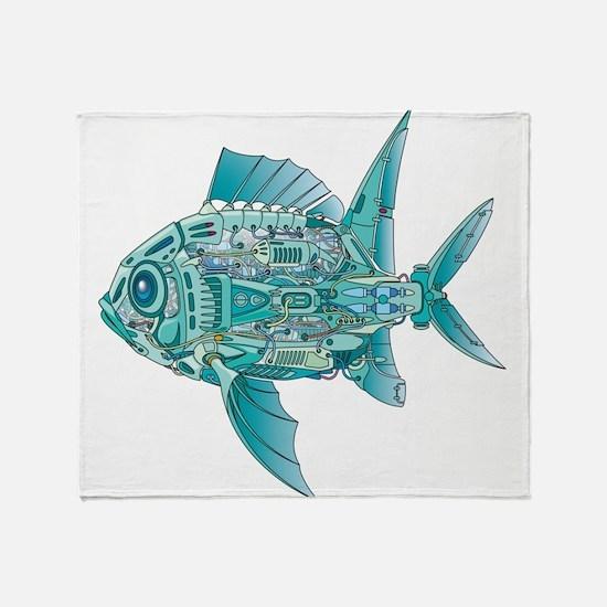 Robot Fish Throw Blanket