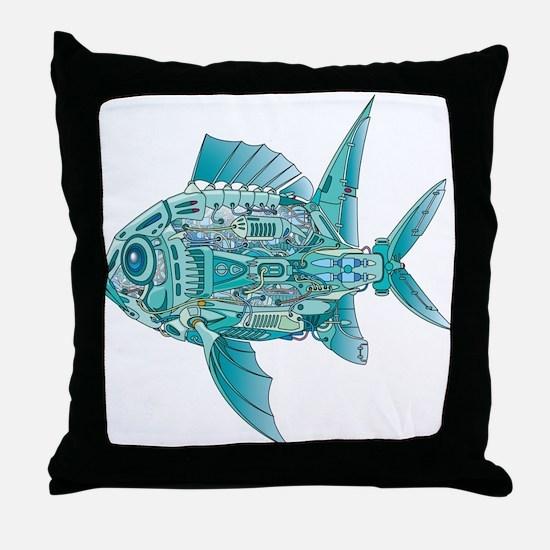 Robot Fish Throw Pillow