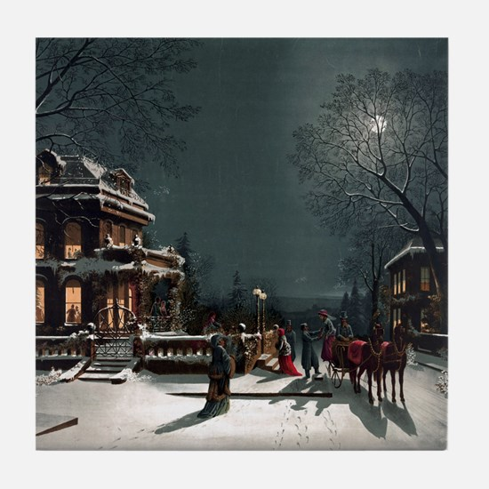 Vintage Christmas Eve Tile Coaster