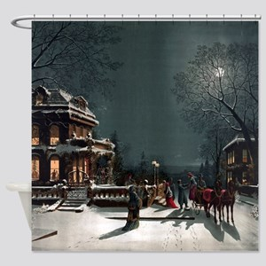 Vintage Christmas Eve Shower Curtain