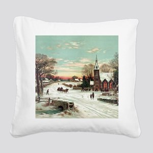 Vintage Christmas Winter Square Canvas Pillow