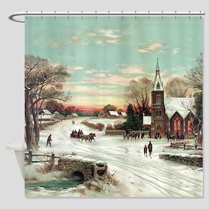 Vintage Christmas Winter Shower Curtain