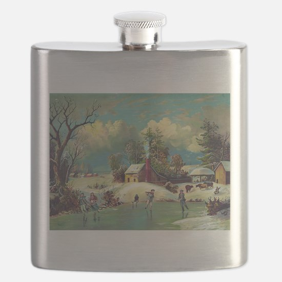 Vintage American Winter Life Flask