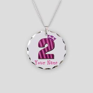 Custom 2nd Birthday Necklace Circle Charm