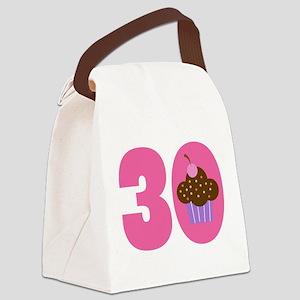 30th Birthday Cupcake Canvas Lunch Bag