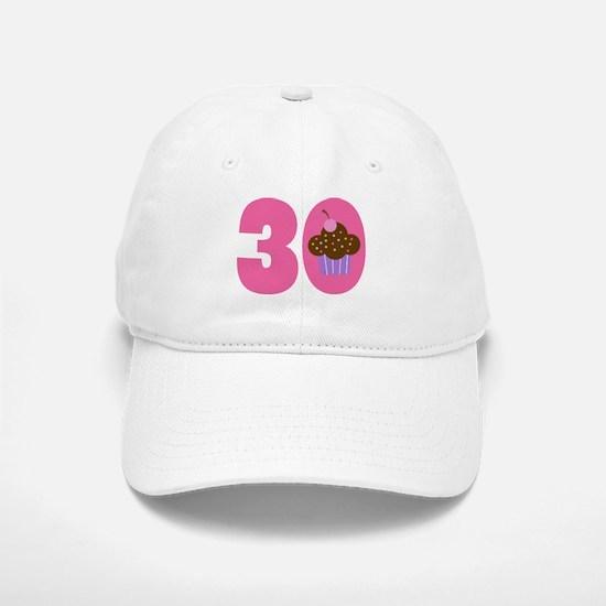 30th Birthday Cupcake Baseball Baseball Cap