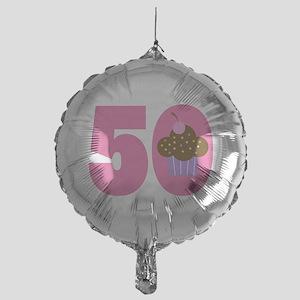 50th Birthday Cupcake Mylar Balloon