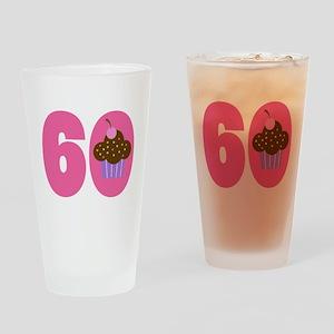 60th Birthday Cupcake Drinking Glass