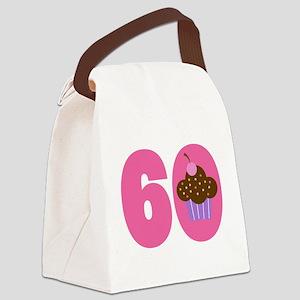 60th Birthday Cupcake Canvas Lunch Bag