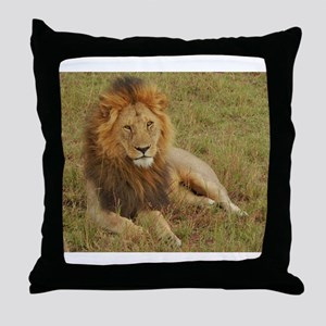 male lion kenya collection Throw Pillow