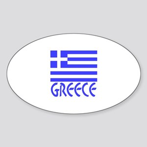 Greece Flag Name Smaller Image Sticker (Oval)
