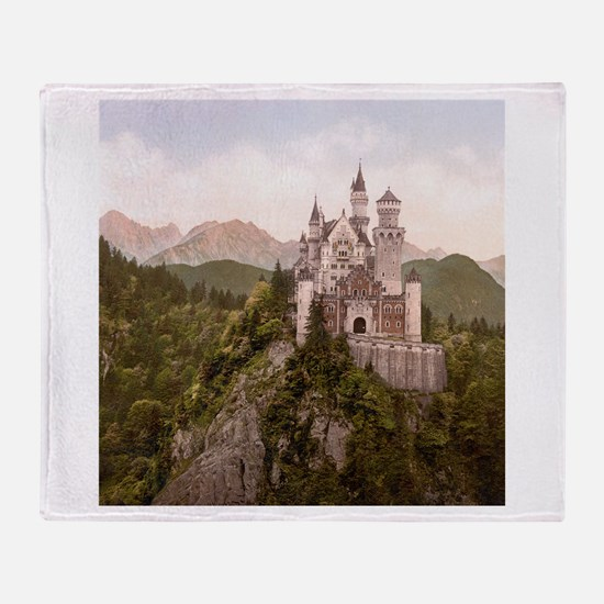 Vintage Neuschwanstein Castle Throw Blanket