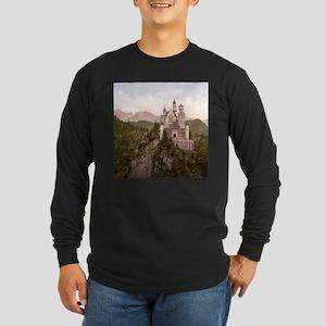 Vintage Neuschwanstein Castle Long Sleeve Dark T-S