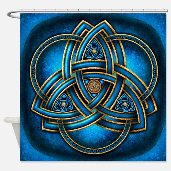 Blue Celtic Triquetra Shower Curtain