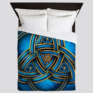 Blue Celtic Triquetra Queen Duvet